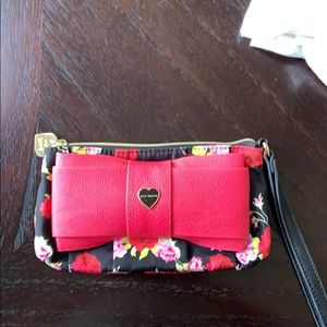Betsey Johnson floral bow wristlet clutch wallet